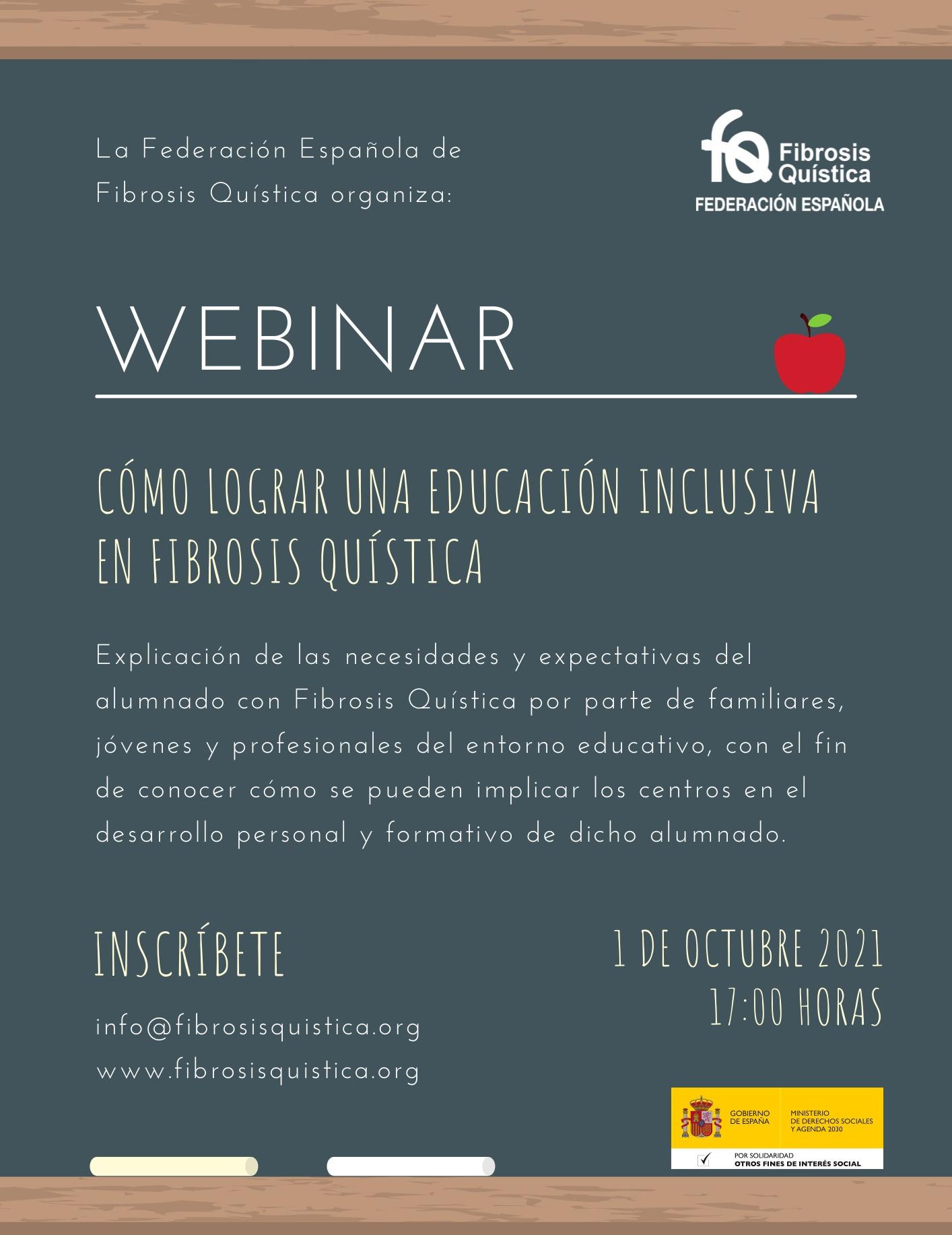 "Webinar ""Cómo Lograr Una Educación Inclusiva En Fibrosis Quística"": Divendres 1 D'octubre A Les 17 Hores"